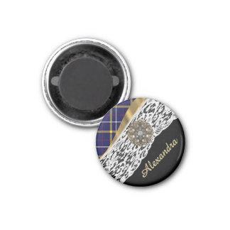 Blue Scottish tartan plaid pattern and white lace 1 Inch Round Magnet