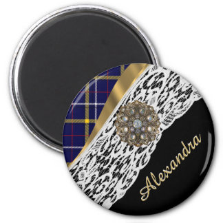 Blue Scottish tartan plaid pattern and white lace 2 Inch Round Magnet