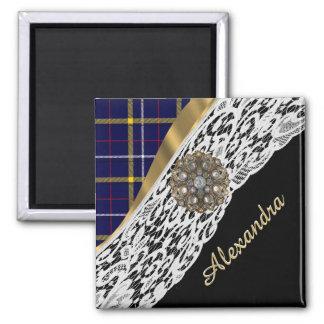 Blue Scottish tartan plaid pattern and white lace 2 Inch Square Magnet