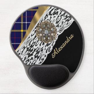 Blue Scottish tartan plaid pattern and white lace Gel Mouse Pad