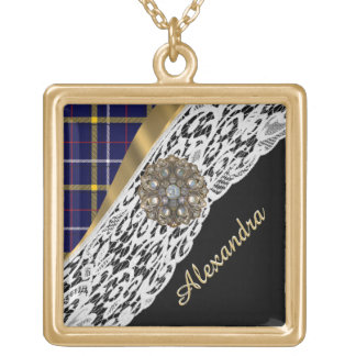 Blue Scottish tartan plaid pattern and white lace Gold Plated Necklace