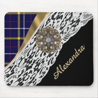 Blue Scottish tartan plaid pattern and white lace Mouse Pad