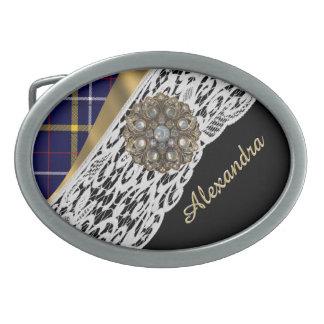Blue Scottish tartan plaid pattern and white lace Oval Belt Buckle
