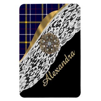 Blue Scottish tartan plaid pattern and white lace Rectangular Photo Magnet