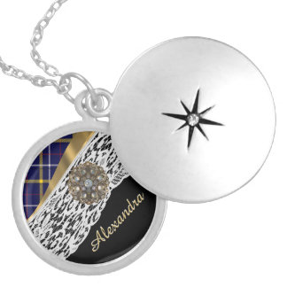 Blue Scottish tartan plaid pattern and white lace Round Locket Necklace