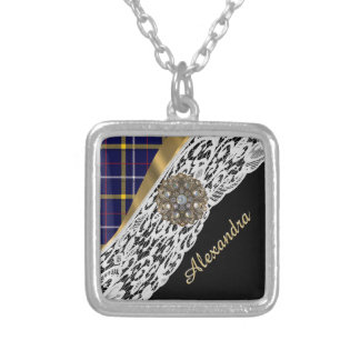 Blue Scottish tartan plaid pattern and white lace Silver Plated Necklace