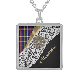 Blue Scottish tartan plaid pattern and white lace Sterling Silver Necklace