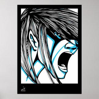 Blue Scream Illustrated Poster w/ Boarder