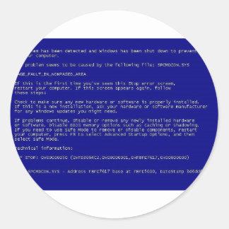 Blue Screen of Death Classic Round Sticker