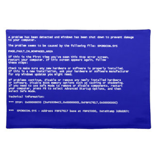 Blue Screen of Death Placemats