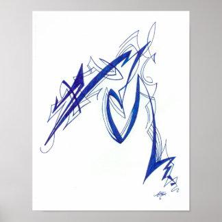 Blue Scribble Art Print