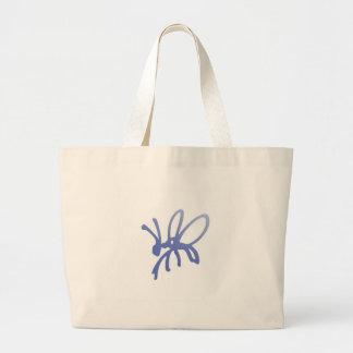 Blue Scribble Bug Tote Bags