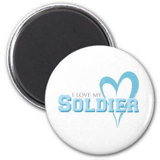Blue Scribbled Heart - I Love My Soldier 2 Inch Round Magnet