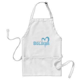 Blue Scribbled Heart - I Love My Soldier Adult Apron