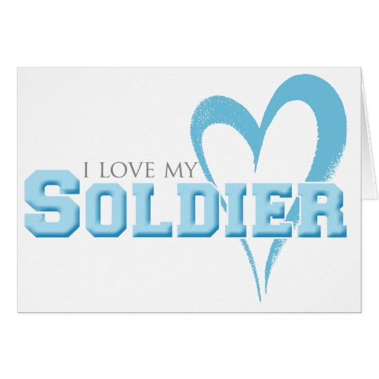 Blue Scribbled Heart - I Love My Soldier Card
