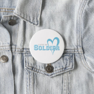 Blue Scribbled Heart - I Love My Soldier Pinback Button