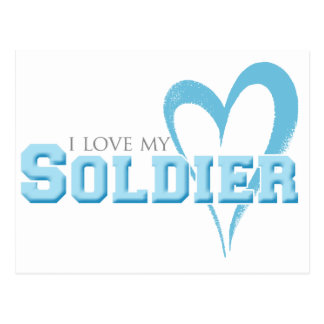 Blue Scribbled Heart - I Love My Soldier Postcard