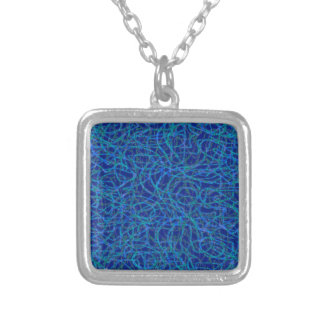 Blue scribbled lines pattern silver plated necklace