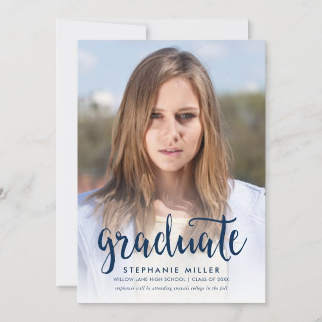 Blue Script and Red Photo Graduation Announcement