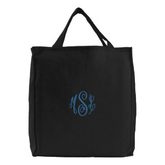 Blue Script Embroidered Monogram Embroidered Tote Bag