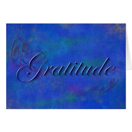 Blue Script Gratitude Note Card