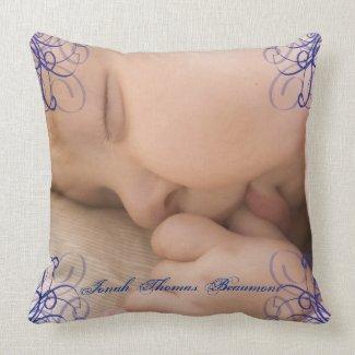 Blue Scroll Corner Baby Keepsake Pillow