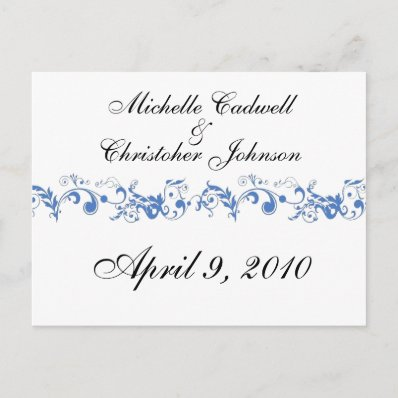 Blue Scroll Save the Date Post Cards