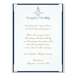 Blue Scroll with Small Gold Christmas Tree Card