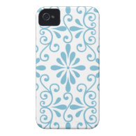 Blue Scroll Work Barely There iPhone 4 Case