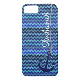 blue sea anchor personalized iPhone 7 case