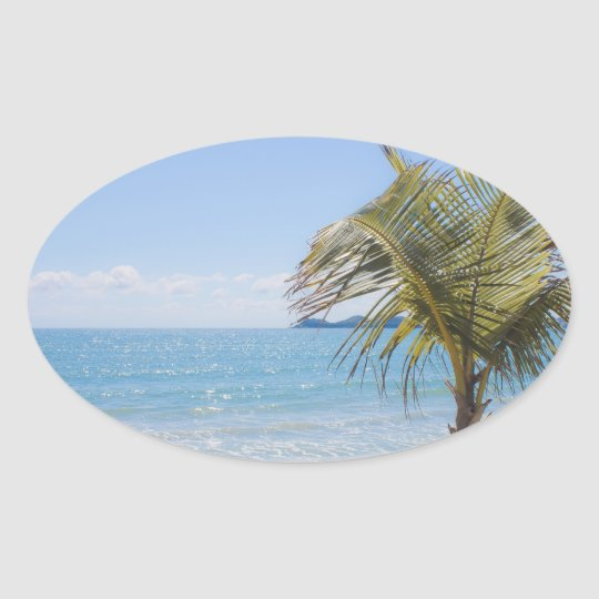 Blue Sea and Coconut Palm Photograph Oval Sticker