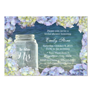 Blue Sea Beach Mason Jar & Hydrangea Bridal Shower 5x7 Paper Invitation Card