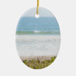 Blue sea Beach Photography Ceramic Ornament