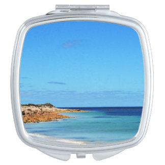 Blue_Sea_Breezes, _Ladies_Square_Compact-Mirror. Espejos De Viaje