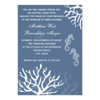 Blue Sea Coral Seahorse Wedding Invitations