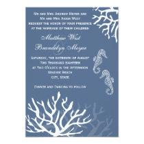 Blue Sea Coral Seahorse Wedding Invitations
