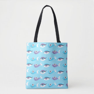 Blue Sea Eyes Fish Pattern Tote Bag