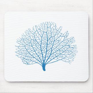 blue sea fan coral silhouette mousepad