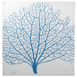 blue sea fan coral silhouette napkins