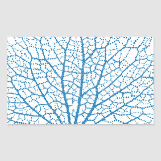 blue sea fan coral silhouette rectangular sticker