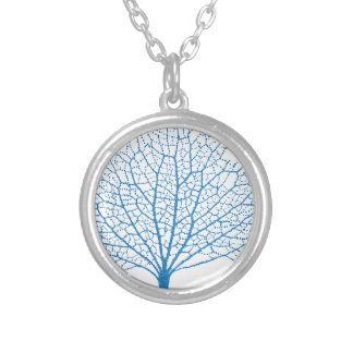 blue sea fan coral silhouette silver plated necklace