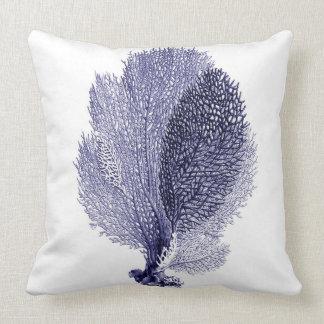 Blue Sea Fan on White Throw Pillow