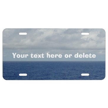 Beach Themed Blue Sea Fluffy Clouds Front License Plate