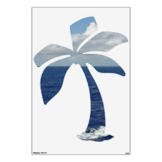 Blue Sea Fluffy Clouds Palm Tree Wall Decal