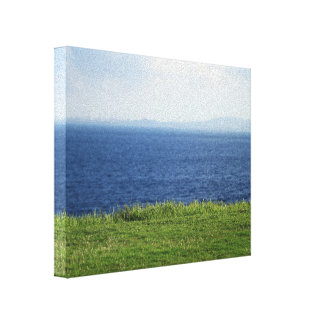 Blue Sea Front Yard Canvas Print