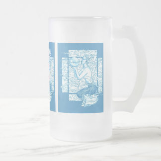 Blue Sea Gaia Sighs Frosted Glass Beer Mug