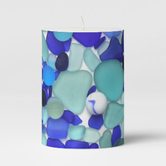 Blue Sea Glass and Sea Marbles Pillar Candle