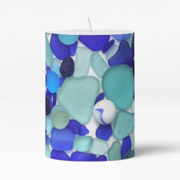 Seafont Blue Sea Glass and Sea Marbles Pillar Candle