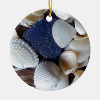 Blue Sea Glass Ceramic Ornament