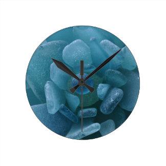 Blue Sea Glass Flower Round Wall Clock